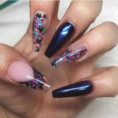 Navy Blue + Encapsulated Colorful / Rainbow Glitter Flake Transparent Long Coffin Nails #nail #nails #nailart ☞ VIDEO https://www.youtube.com/watch?v=w8LAtDuqSms