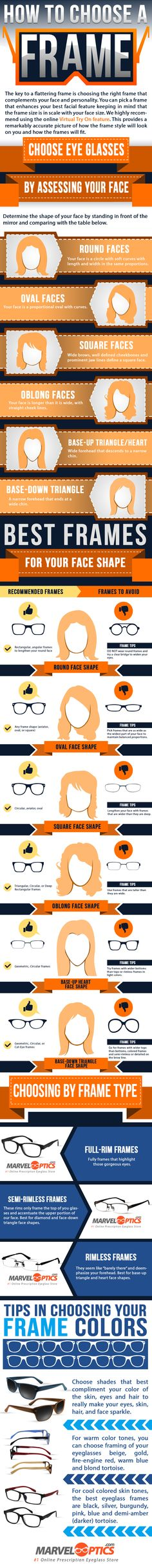 Essential for choosing the right glasses frame is to complement your face and personality. You should keep in mind that the glasses frame size is in scale with Glasses Frames, Eye Glasses, Glasses For Your Face Shape, Face Framing, Sunglasses Sale, Health And Beauty Tips, Face Skin, Face Shapes, Good To Know