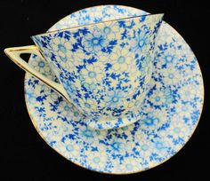 Royal Doulton Art deco shape blue daisy chintz by simplytclubhouse