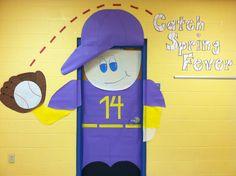 Baseball player door. CATCH SPRING FEVER! Spring Door decoration.