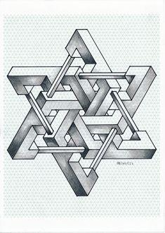 #impossible #isometric #penrosetriangle #geometry #symmetry #handmade #mathart #regolo54 #escher #oscareutersvärd