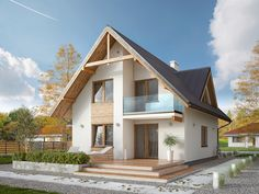 Projekt domu Sopran - php developer info House Plan With Loft, House With Porch, House Plans, Home Building Design, Home Design Plans, Building A House, Future House, Swiss House, Style Cottage