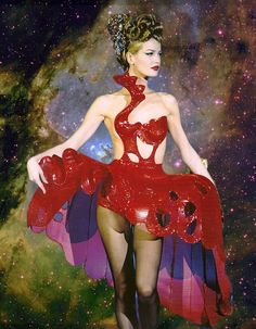Thierry Mugler F/W 1992 'Eté Cow-Boy', Karen Mulder in Iron Lace on the runway by Patrick Stable x The Eagle Nebula taken by the Hubble Tele...