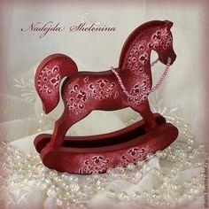Купить Красный конь-качалка. - лошадка, русский стиль, народная игрушка, красный, бордовый, подарок