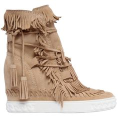 Casadei Women 80mm Fringe Suede Wedge Boots ($930) ❤ liked on Polyvore featuring shoes, boots, beige, wedges shoes, beige wedge boots, wedge boots, platform boots and lace up boots