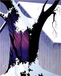 Violet Tree and Barn - Eyvind Earle