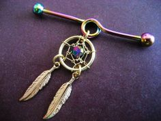 Golden Rainbow Dream Catcher Industrial Piercing Barbell Feather Charm Dangle 14 G Gauge Bar I want this for my industrial so bad xc Industrial Piercing Barbells, Barbell Piercing, Industrial Barbell, Piercing Tattoo, Body Piercing, Industrial Bar Earring, Industrial Piercing Jewelry, Industrial Bars, Ear Jewelry