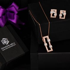 """""""I only wear jewelry on days ending with """"Y"""". 💎 Check out this amazing Pendant Set at the Diamond Mela Store today ! Pink Diamond Jewelry, Diamond Necklace Set, Gold Bar Necklace, Diamond Pendant, Jewelry Design Earrings, Gold Earrings Designs, Necklace Designs, Trendy Jewelry, Fashion Jewelry"""