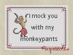 monkey pant, monkeys, buffi quot, btvs, random, funny monkey quotes, cross stitches