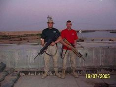 """This July 19, 2005 family photo shows Lance Cpl. Brian Montgomery of Willoughby, left, and Daniel Nathaniel """"Nate"""" Deyarmin, Jr. of Tallmadge, in Iraq. The two Marine reservists based in Brook Park were killed Monday, Aug. 1, 2005, with four other members of their unit, while on sniper duty in Iraq. Halls Of Valhalla, Gung Ho, Iraq War, Us Marine Corps, Military Personnel, Life And Death, Military Life, Police Officer, Firefighter"""