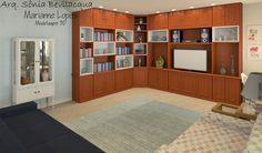Design interiores estilo provençal contemporâneo para sala de TV.