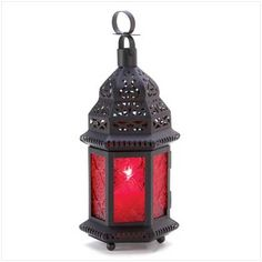 Red Glass Moroccan Lantern  Purchase 24 or more at $$4.95 each.  Buy a bag of tea lights making each one around $.05!  Viola $5.00 centerpiece!