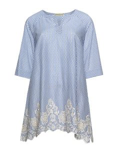 Isolde Roth Embroidered and dotted cotton tunic in Blue / White