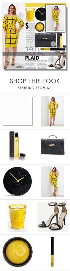 """Self Tie Grid Peplum Dress"" by fashiondiary5 ❤ liked on Polyvore featuring Wendy Nichol, Jennifer Lopez, Simpatico, de Mamiel, NYX, yellow, dress and romwe"