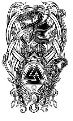 28 Trendy Ideas For Celtic Dragon Tattoo Tatoo Viking Tattoo Sleeve, Norse Tattoo, Celtic Tattoos, Viking Tribal Tattoos, Viking Tattoos For Men, Viking Warrior Tattoos, Viking Rune Tattoo, Celtic Tattoo Symbols, Tattoo Ideas