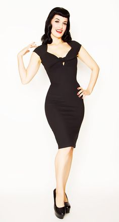 Broad Minded Clothing - Rockabilly Pinup Stretch Knit Twist Tie Front Little Black Wiggle Dress for pin up bachelorette party outfit idea