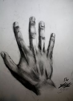 Charcoal Drawing of My Hand  by ~JoshFJames