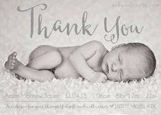 Thank you Birth Announcement Photo Card Baby by babybaloo