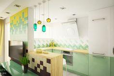 Salon z kuchnią. Śliczna, kolorowa aranżacja