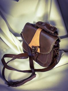 8ad32b987a 1950s Vintage Western Style Cross Body Handbag Thick Leather, Suede Leather,  Leather Tooling,