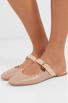 Lauren Patent-trimmed Leather Slippers - Neutral Chlo 3zPzdGYhu