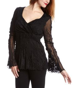Of Two Minds Black Embroidered Surplice Top - Women | zulily
