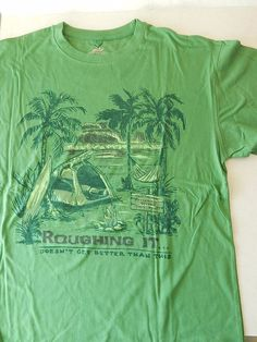 Medium Green Roughing It TShirt Beach Camp Surf Clothing Optional Newport Blue  #NewportBlue #GraphicTee
