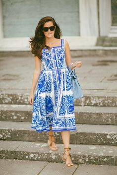 Dolce & Gabbana dress, sandals and Prada bag