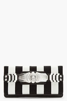BALMAIN Black Striped Leather Medallion BiFold Clutch