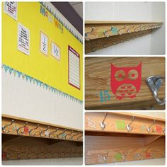 36 Clever DIY Ways To Decorate Your Classroom. Love the vinyl lettering on cubbies. Backpack Hooks, Backpack Storage, Backpack Organization, Diy Backpack, Classroom Setting, Classroom Setup, Classroom Design, Future Classroom, School Classroom