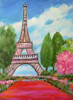 Modern Eiffel - acrylic by ©Karen Fields (via FineArtAmerica)