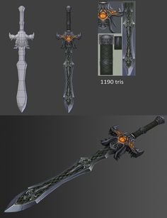 23 swords - Page 2 - Polycount Forum Fantasy Sword, Fantasy Weapons, Armor Concept, Weapon Concept Art, Prop Design, Game Design, Mode 3d, Casual Art, Game Textures