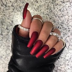 red nails coffin / red nails - red nails acrylic - red nails design - red nails glitter - red nails coffin - red nails short - red nails acrylic coffin - red nails with rhinestones Red Matte Nails, Dark Red Nails, Red Acrylic Nails, Red Chrome Nails, White Nails, Red Glitter Nails, Holiday Acrylic Nails, Gorgeous Nails, Love Nails
