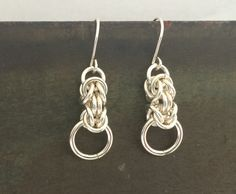 Sterling Silver Chainmail  Earrings Byzantine by BycraftJewellery