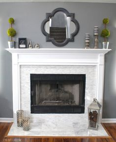 Fireplace and mantle makeover/doors, walls, and trim colors for bathroom makeover