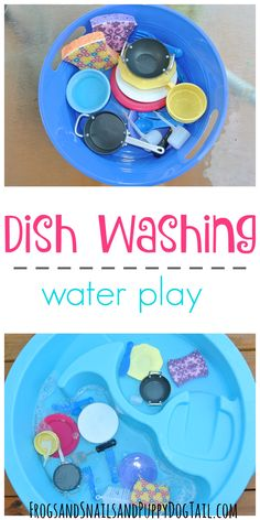 Dish Washing Water Play for Kids. Simple and fun play activity for outside.