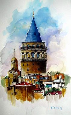 Galata Tower in Istanbul Watercolor Architecture, Architecture Sketches, Watercolor Landscape, Watercolor Sketch, Watercolor Illustration, Art Paintings, Watercolor Paintings, Watercolors, Urban Sketching