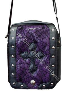 Dark Star - Leather Look Shoulder Bag w/ Cobweb Panel - Purple