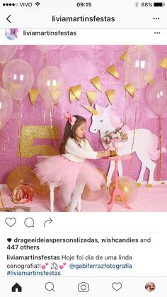 Unicorn Unicorn Birthday Parties, Birthday Party Decorations, Birthday Ideas, Pyjamas Party, Rainbow Unicorn Party, Unicorn Photos, Bday Girl, Decoration Table, Princess Party