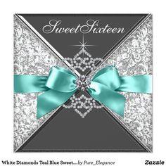 White Diamonds Teal Blue Sweet 16 Birthday Party Card | Zazzle.com