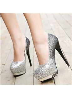 Shoespie Sequined Contrast Color Platform Heels