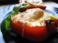 Red pepper halves make perfect individual and edible ramekins for eggs, bacon and cheese. Perfect breakfast food!