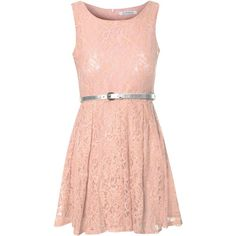 Peach Lace Belted Dress ($46) ❤ liked on Polyvore featuring dresses, vestidos, short dresses, blush, red sleeveless dress, lace mini dress, skater dress and lace cocktail dress