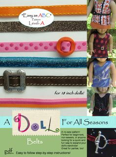 Easy Belt pdf pattern for 18 inch AG dolls no-sew pattern, A Doll For All Seasons