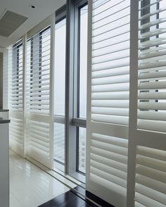 plantation shutters - Poly Shutters and overhead track systems. However, be sure to reference Plantation Shutters Over Sliding Glass Doors for more details and ways to cover sliding glass doors. Window Shutters, Moving House, Home, Best Interior Paint, Interior Window Shutters, Affordable Interiors, Interior Design School, Door Coverings, Doors Interior