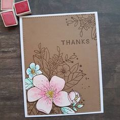 Making quick and simple 'thank you' cards. I used 'Hello Lovely' from #concordand9th #primawatercolors #watercolor #cards #crafting #stamping #diycards #homemadecards #rmcards