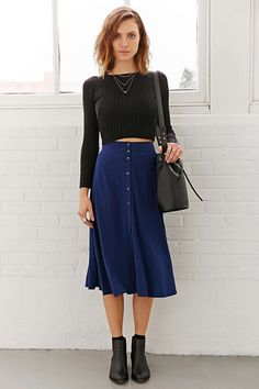 Ecote Button-Down Midi Skirt - Urban Outfitters