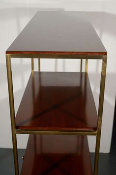 modernist etagere in walnut wood and brass by paul mccobb 7 paul