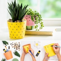 out this pineapple planter DIY! Turn faux succulents into a slice of tropi. Check out this pineapple planter DIY! Turn faux succulents into a slice of tropi. - -Check out this pineapple planter DIY! Turn faux succulents into a slice of tropi. Painted Plant Pots, Painted Flower Pots, House Plants Decor, Plant Decor, Pottery Painting Designs, Pot Jardin, Faux Succulents, Diy Planters, Flower Planters
