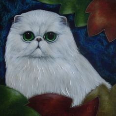 "ARTFINDER: WHITE PERSIAN CAT & AUTUMN LEAVES 9"" ... by CYRA CANCEL - A WHITE PERSIAN CAT with AUTUMN LEAVES PAINTING 9"" X 9"" MIXED MEDIA WITH COLORED PENCILS, ACRYLIC, PASTELS, AND COLORED INKS, ON BLACK ARTIST PAPER. PAINTI..."